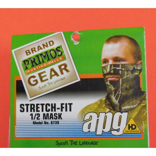 Primos Stretch-Fit Face Mask - 1/2 Mask - Realtree® APG HD