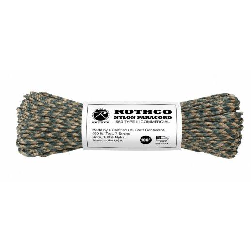 Nylon Paracord reb 4mm x 30 m - Woodland Camo