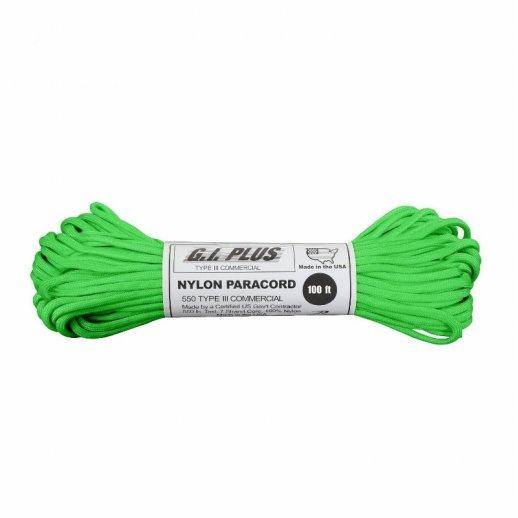 Nylon Paracord reb 30m , 4 mm tyk Safety Green