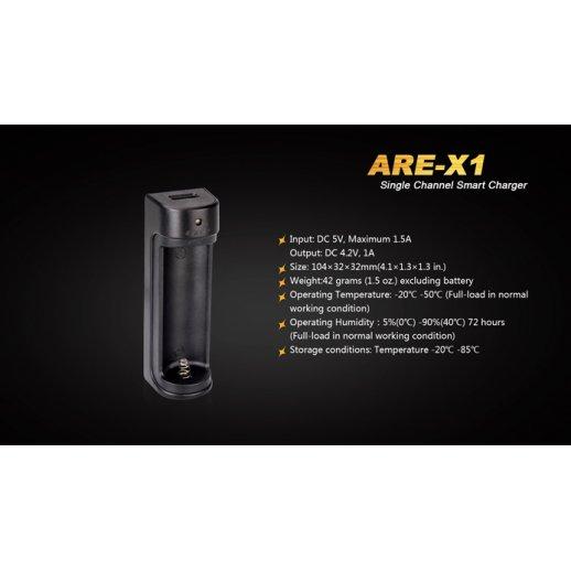 Fenix Batterilader ARE-X1 - til 1 stk. 18650 Li-on
