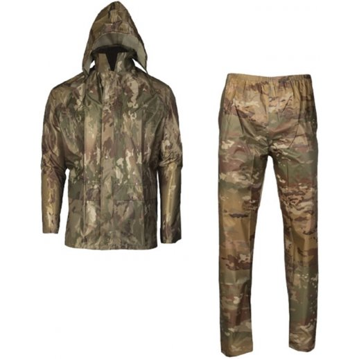 Regnsæt med jakke og bukser i Multicam camo