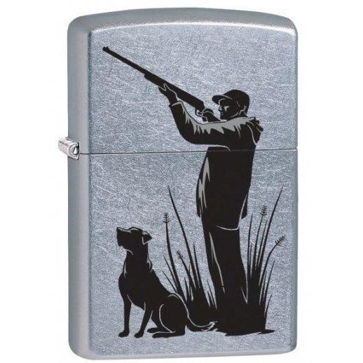 Zippo Hunter and Dog brushed chrome lighter