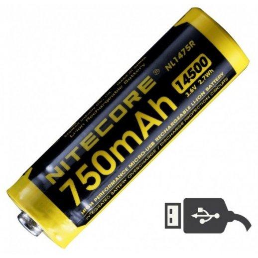 Nitecore - 14500 genopladeligt batteri - 750 mAh