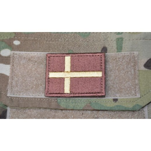 Dannebrog Velcro Patch - Brun